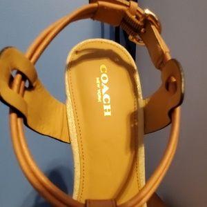 Coach Shoes - Coach gold/natural wedges
